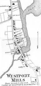 1871 inset map of Westport Mills (source: Beers 1871).