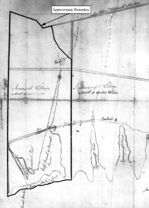 1787 map of Old Dartmouth showing approximate boundary of Westport, MA (source: Anon 1787).