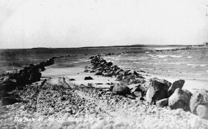 Stones placed along causeway to Gooseberry