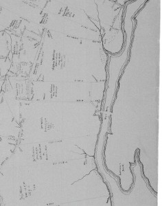 George Cadman's parcel  and Thomas Coleman's parcel to the south identified as William White (blue). Detail from map of Westport based on the transcriptions of Benjamin Crane's field notes. Delineator and date unknown. Courtesy of the New Bedford Free Public Library.