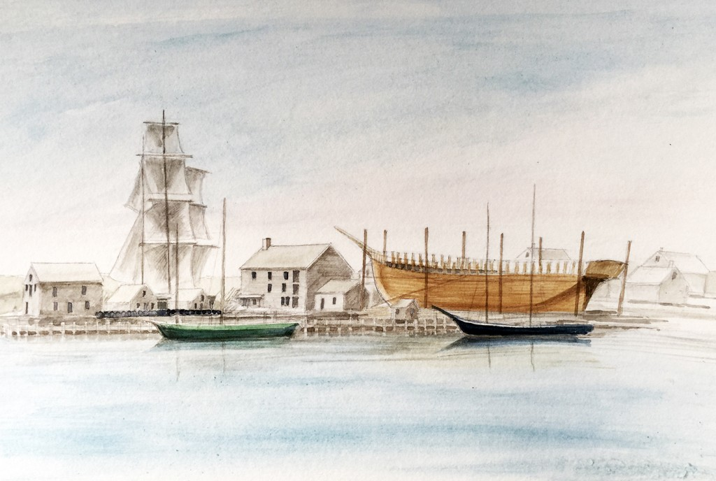 While ships were preparing for or returning on voyages at Westport Point, a significant number of new vessels were being built or 'fitted-out' behind Cory's Store. (the current Paquachuck Inn) in the 18th and 19th Century.